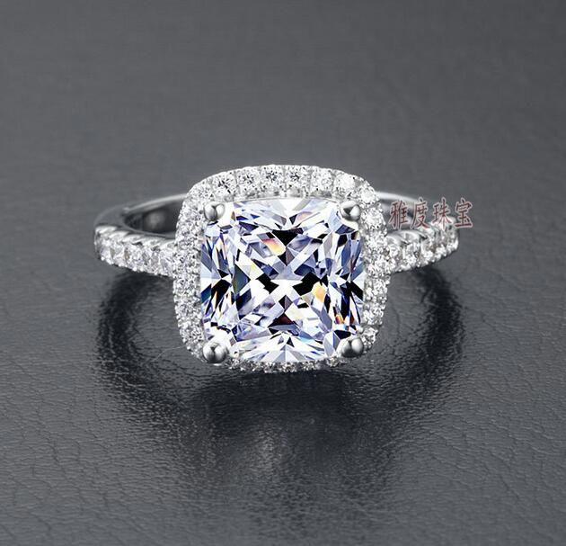 US GIA Zertifikat SONA Diamond Drill drei Generationen IJ Farbe 3 Karat Platin platiert Sterlingsilber Frauen Hochzeit oder Verlobungsring