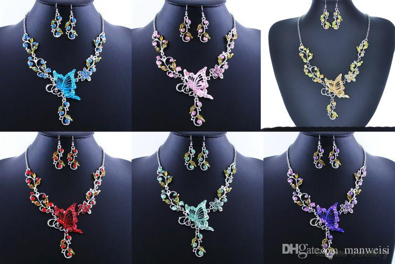 6 Colors Women Butterfly Flower Rhinestone Pendant Statement Necklace Earrings Jewelry Set Fashion Jewelry Bridal Wedding Dress Jewelry Sets