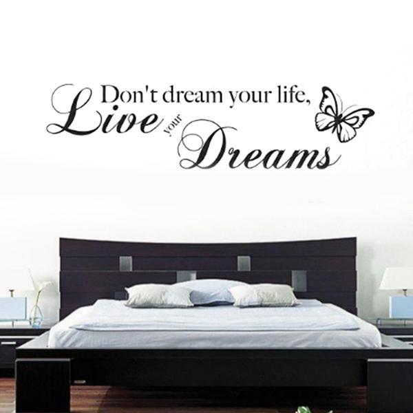 حار جديد للإزالة لا تحلم حياتك فراشة pvc الجدار جدارية الجدار ملصق اقتباس صائق الفن ديكور ، dandys