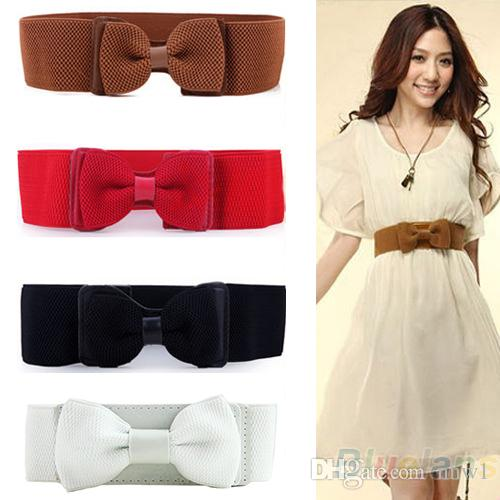 Fashion Women Lady Wide Elastic Stretch Bowknot Bow Tie Belt Solid Colored Waistband For Dresses Clothes Gift