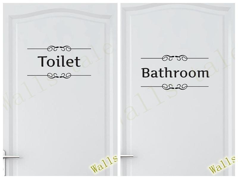 Bathroom Quote Wall Sticker Restroom Toilet Door Sign Vinyl Home Bathroom Decor