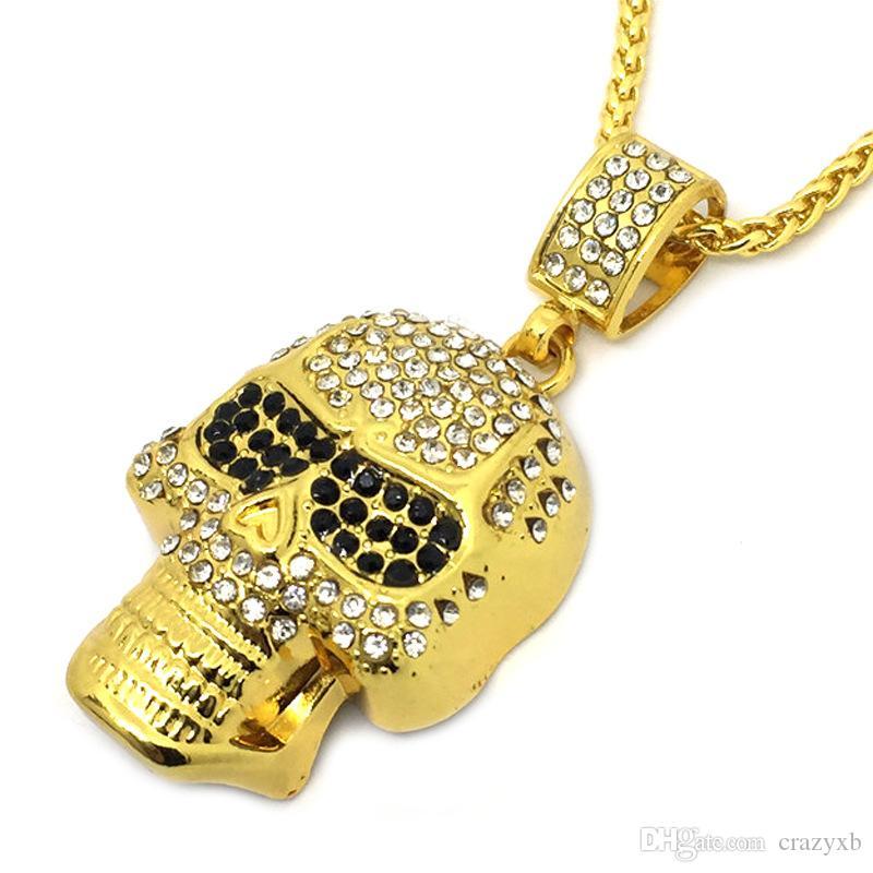 Bling Ouro preto Pedra Olhos Fantasma Strass Pingentes Colares Homens Mulheres Hip Hop Cristal Crânio Cabeça Jóias Presentes Cadeias