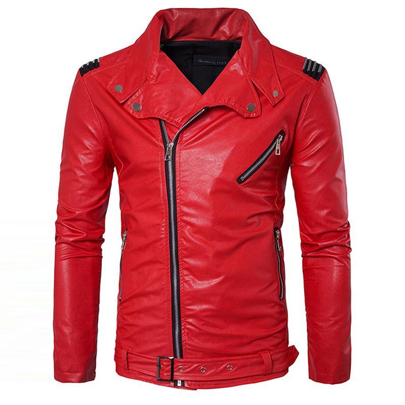 Gros- Manvelous Hommes Faux Veste En Cuir De Mode Casual À Manches Longues Revers Solide Épais Hommes Manteau Noir Rouge Couleur Slim Suede Hommes Vêtements