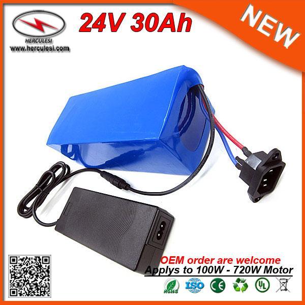 Flach trocken 720W Elektro-Fahrrad-Batteriesatz 24v 30Ah 18650 Samsung ebike Lithium-Batterie in 30A bms 2A Ladegerät