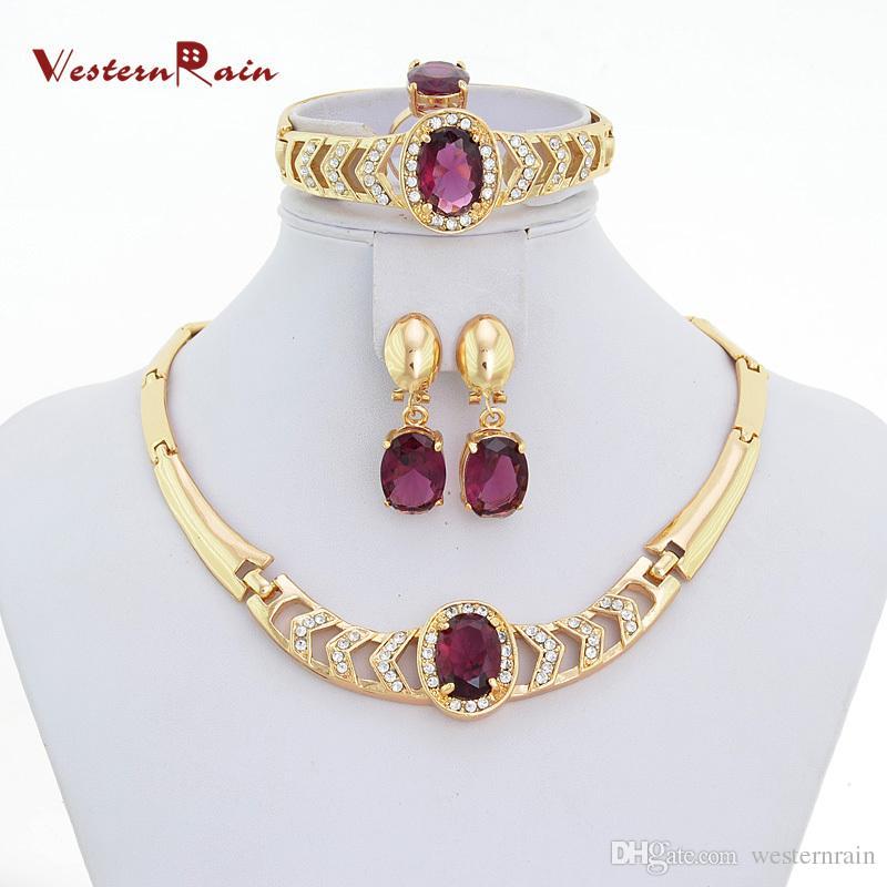 2019 Westernrain Gold Plated Imitation Italian Purple Jewelry Set