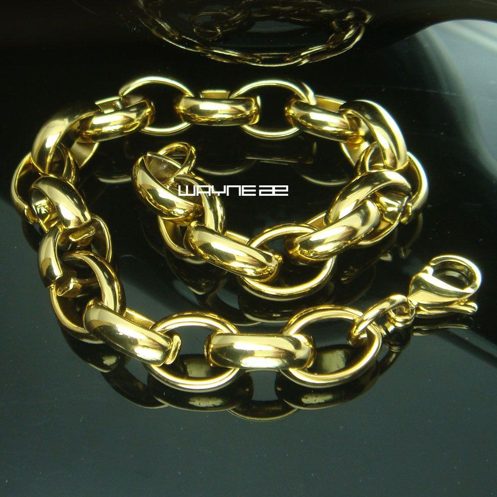 (b169) Braccialetti a catena in acciaio inossidabile riempito in oro 18k con nuovo stile largo 10 mm