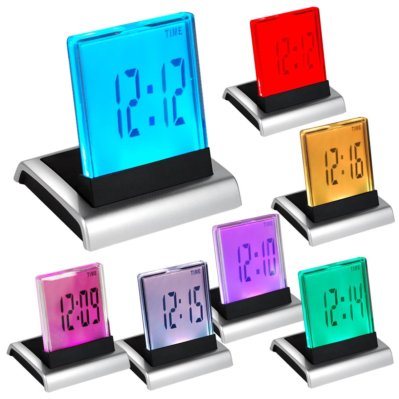 7-kolorowa zmiana LED cyfrowy termometr alarmowy LCD