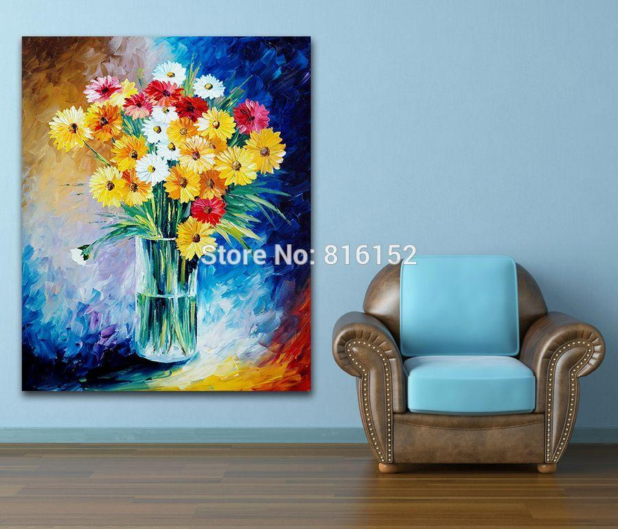 Magic Flowers Brilliant Floral Modern Wall Art Palette Knife Oil Painting Printed On Canvas Picture For Office Home Art Decor