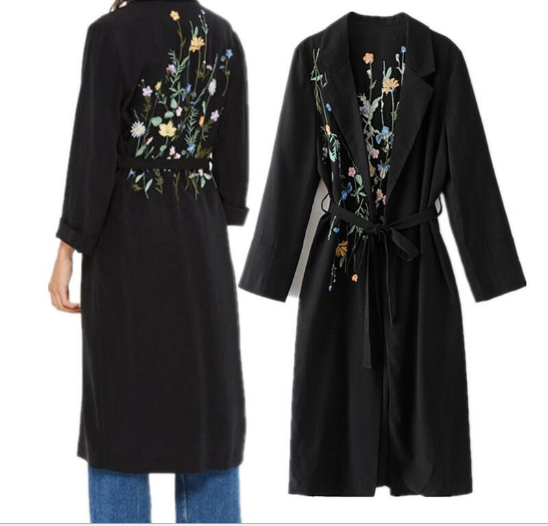 2017 autumn and winter Fashion Long Trench Coat with belt Floral Cardigan Print embroidery Windbreaker Overcoat Women Outwear Loose Jacket