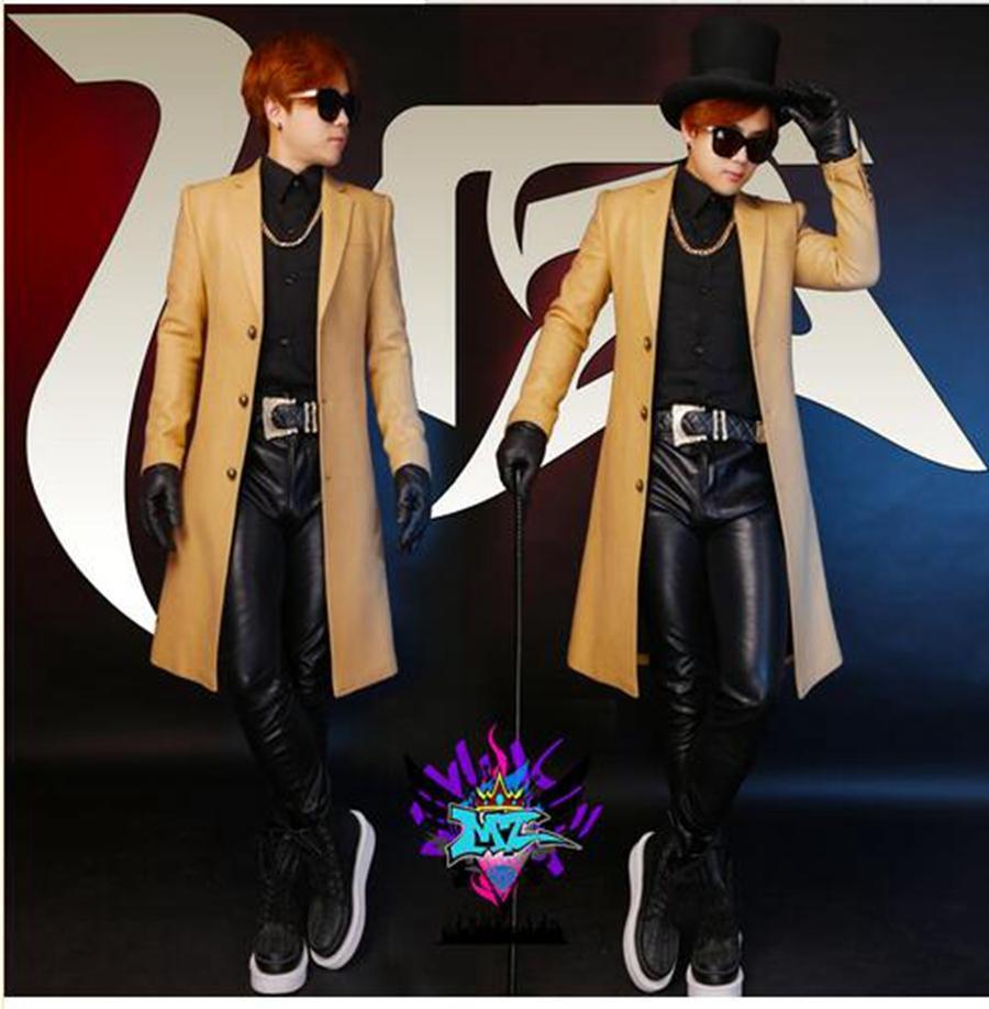 نوادي المغني الذكور في أوروبا والولايات المتحدة أكثر المدرج تبدو الكاكي الكشمير القماش معطف طويل الأزياء. S - 6 xl