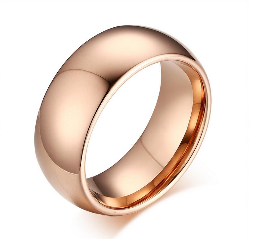 8mm Rose Gold Tungsten Carbide Rings Tungsten Steel Plain Simple Promise Rings Free Engraving