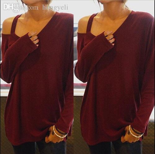 도매 - 티셔츠 여성 패션 긴 소매 컷 - 아웃 어깨 탑 오프 비대칭 티셔츠 루스 티셔츠 패션 2016 New Arrival