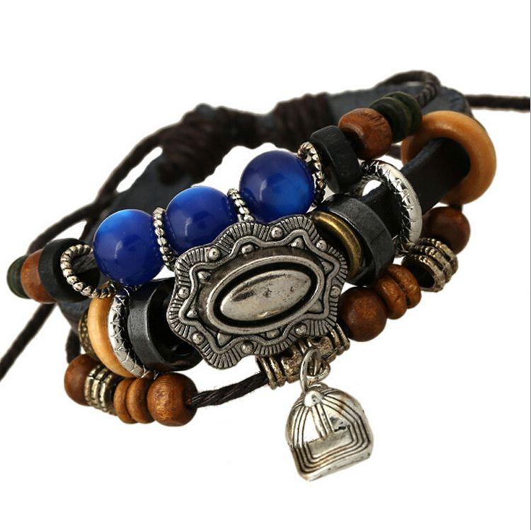 حديثا سحر أساور اليدوية الأزياء كاب سحر للرجال متعدد الطبقات إنفينيتي الأزرق الخرز واسعة الأسود جلدية أساور مجوهرات