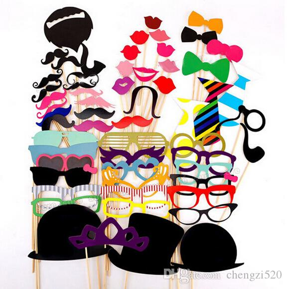 MO Practical DIY 58Pcs/set Photo Booth Props Christmas Gift Style Photo Props Wedding Birthday Party Funny Masks Decor YH016