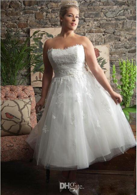 Discount 2016 Short Wedding Dresses Plus Size Strapless Wedding ...