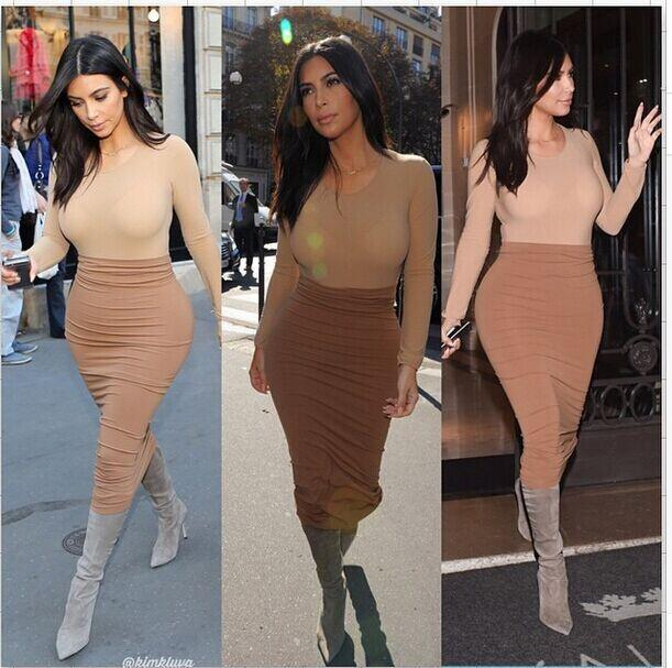 Sexy Slim Bodycon Bandage Dress V Neck 2 Pieces Long Sleeve Club Wear  Bodycon Dress Women Autumn Evening Party Celeb Bandage Dresses SJ156 2cc336e929e7