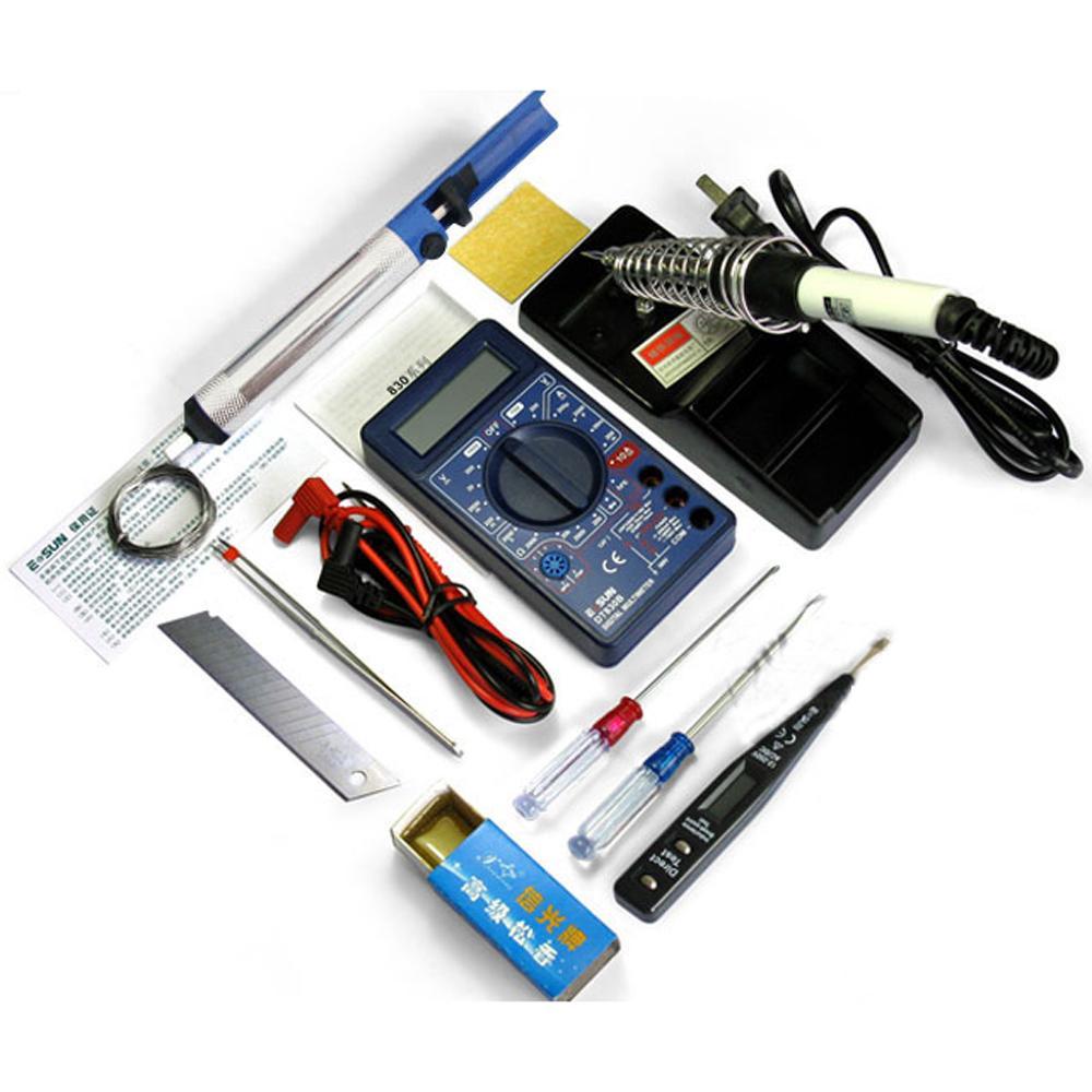 DT830B MULTIMETER + 220V 30W SOLDER IJZER + electic Potlood + Andere DIY Electirc Soldeergereedschap Kit (12PCS in 1 pack)