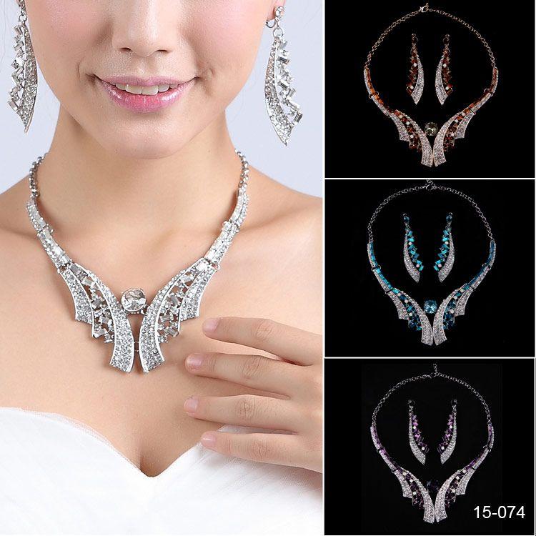 Bescheidene Braut Halskette elegant versilbert Strass Ohrringe Schmuck-Set Zubehör für Prom Kleider Abendkleid