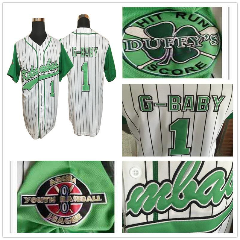 Stitched Evans Kekambas #1 Jarius G-Baby The Movie Hardball DeWayne Warren Baseball Jersey Bruno Mars 24K Hooligans Jerseys Hip-hop Shirts