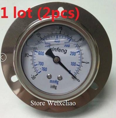 Pressure Gauge -760-0mmHg 1/4PT Horizontal Vacuum Meter for Hydraulic Power Machine Pressure Gauge Manometer 1 lot (2pcs) Free Shipping