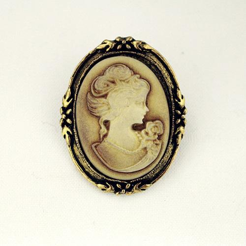 Vintage Rainha Lady Cameo Esmalte Preto Bronze Broches Pinos 80Pcs