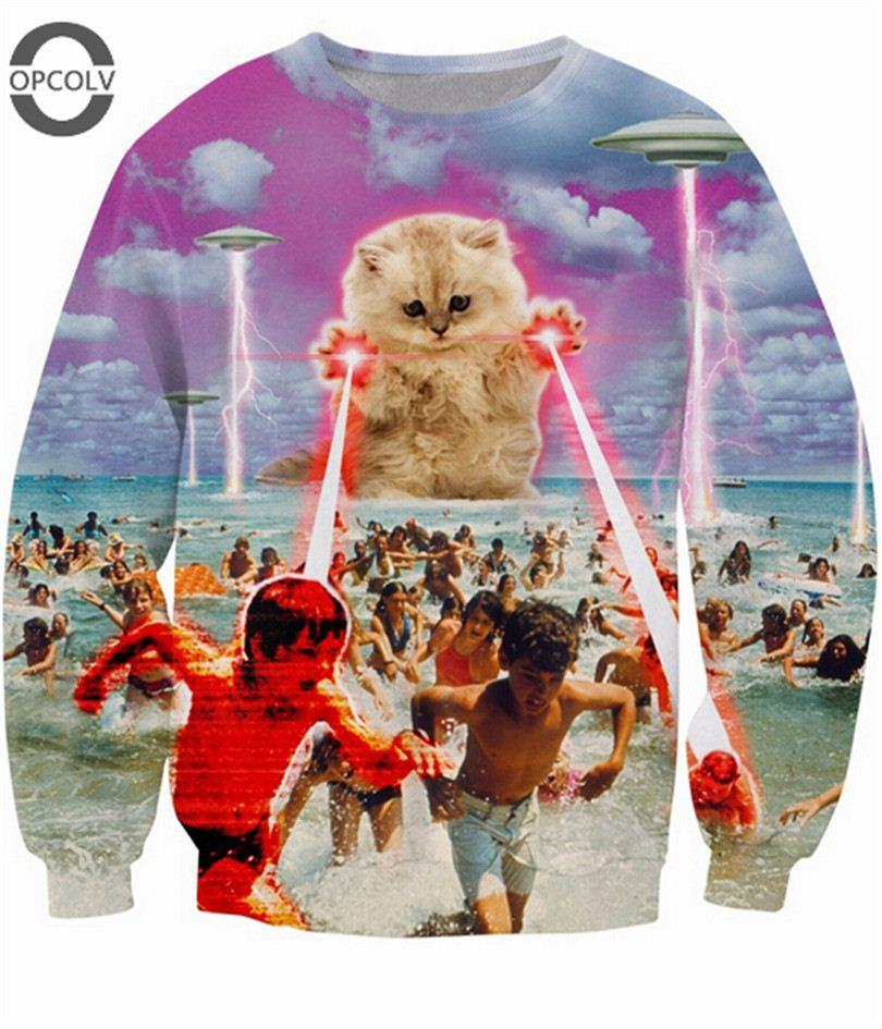 W1219 OPCOLV 2016 котенок никто не любил толстовка убийца котенок НЛО уничтожение наряды женщины мужчины кошка 3D перемычка спортивные топы потеет