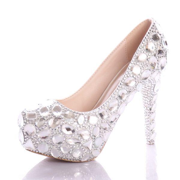 Scarpe Da Sposa Con Strass.Acquista Fantasia Da Sposa Con Strass Diamante Piattaforma Scarpe