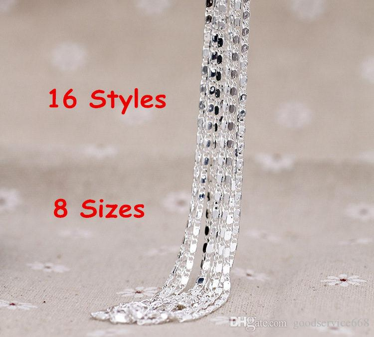 """16""""/18""""/20""""/22""""/24""""/26""""/28""""/30"""" Singapore Chain 925 Sterling Silver Beautiful Water Wave Necklace With Lobster clasps"""