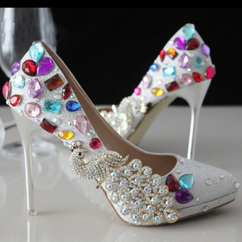 Newest Silver Crystal Wedding Dresses Shoes Elegant Modest Party Wear Bridal Shoes Low Heel Shoes