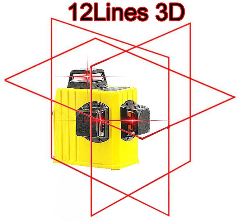 Professional 12 line laser level 360 Rotary Self-leveling Cross Line 3D Leveling Tools Red Beam Vertical And Horizontal (4)