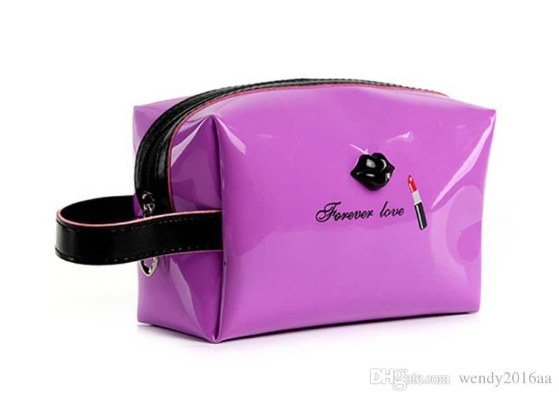 100 stücke Frauen 6 farbe Lip Strand Taschen Reise kleine reißverschluss lackleder taschen Mode Weibliche Tote Geldbörse