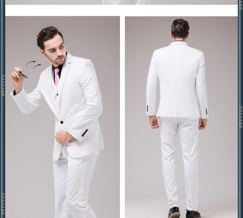 Coat/Vest/Pants Men White Wedding Dress Suit Slim Groom Classic ...