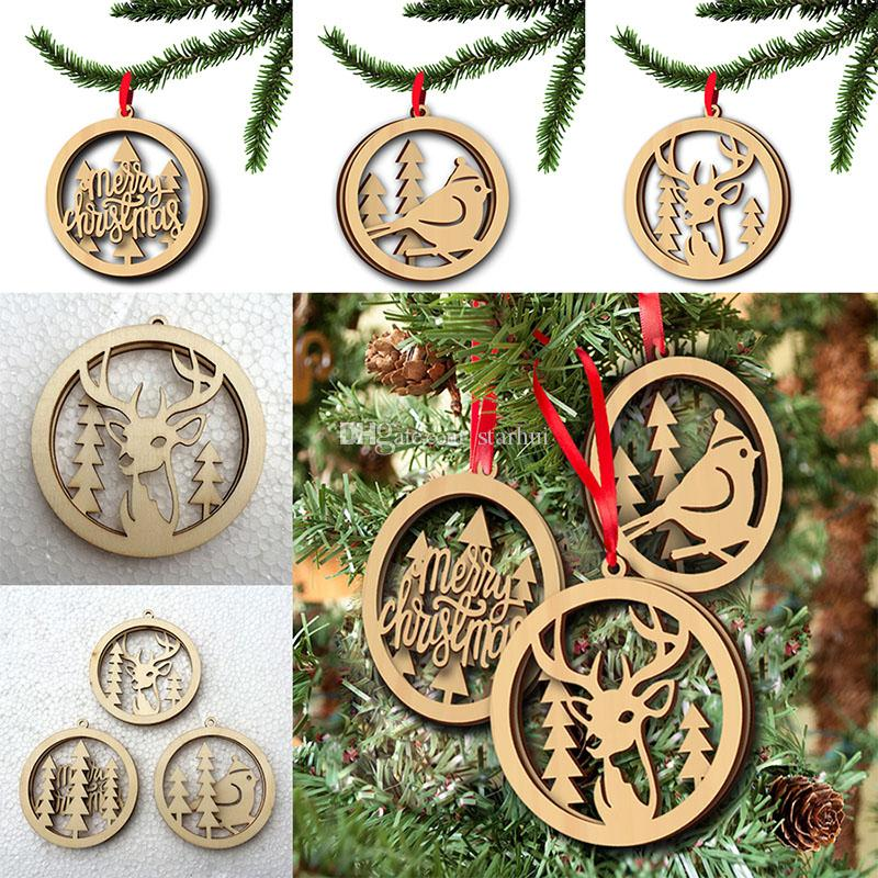 3 pieces/Lot Christmas Tree Ornaments Wood Chip Tree Deer Pattern Hanging Pendant Xmas Home Festival Party Decoration WX9-125