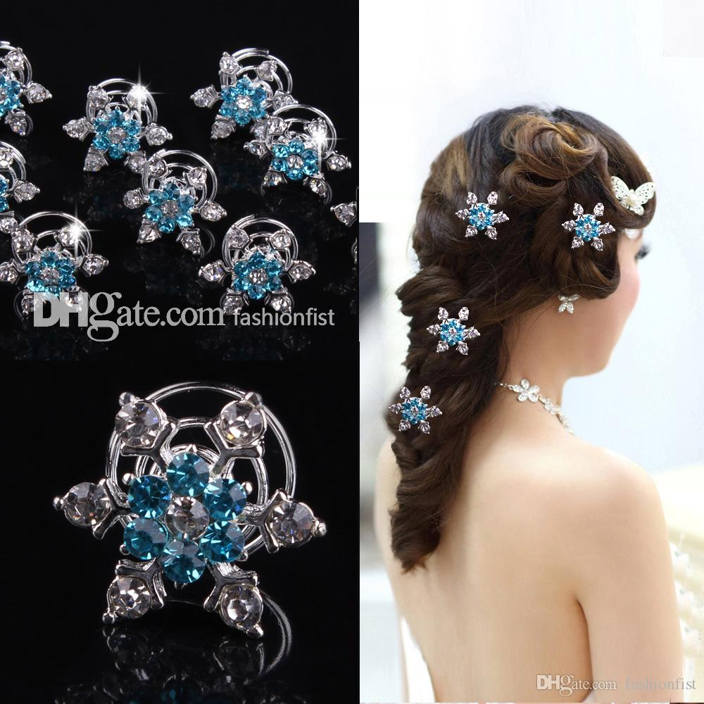 100pcs Brand New Frozen direct bridal & Kids hair accessories plate snowflake diamond jubilee clip Frozen Hair Hot Sale