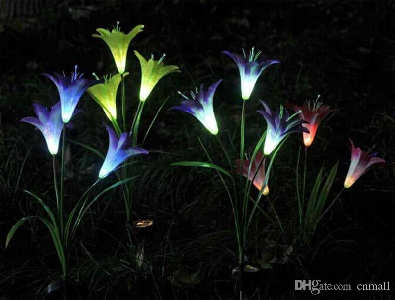 2017 3led/4led Flower Solar Yard Light Led Solar Flower Garden Light Stake  Light Color Changing Outdoor Garden Path Yard Decoration Lamp From Cnmall,  ...