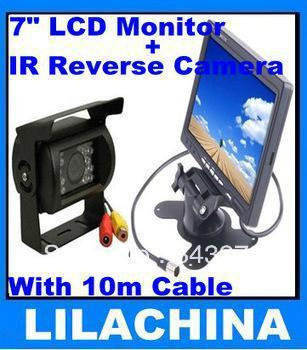"7 ""LCD Monitör + 18 IR Ters Kamera Araba Dikiz Kiti Araba Kamera ile 10 m Kablo Otobüs Park Sensörü"
