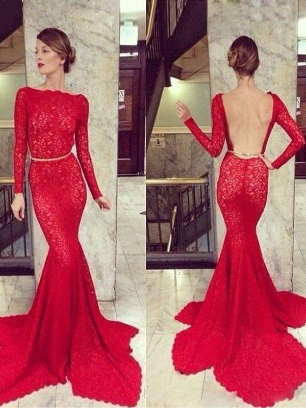 2015 Michael Costello Red Long Sleeve Aftonklänning Bateau Neck Backless Mermaid Clover Court Train Lace Celebrity Gown Prom Formal Dresses