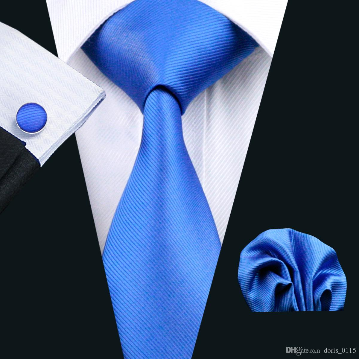 Sapphire Blue Tie Hankerchief Manchetknopen Set Jacquard Geweven Heren Stropdas Set Bedrijfswerk Formele Meeting Leisure N-0850