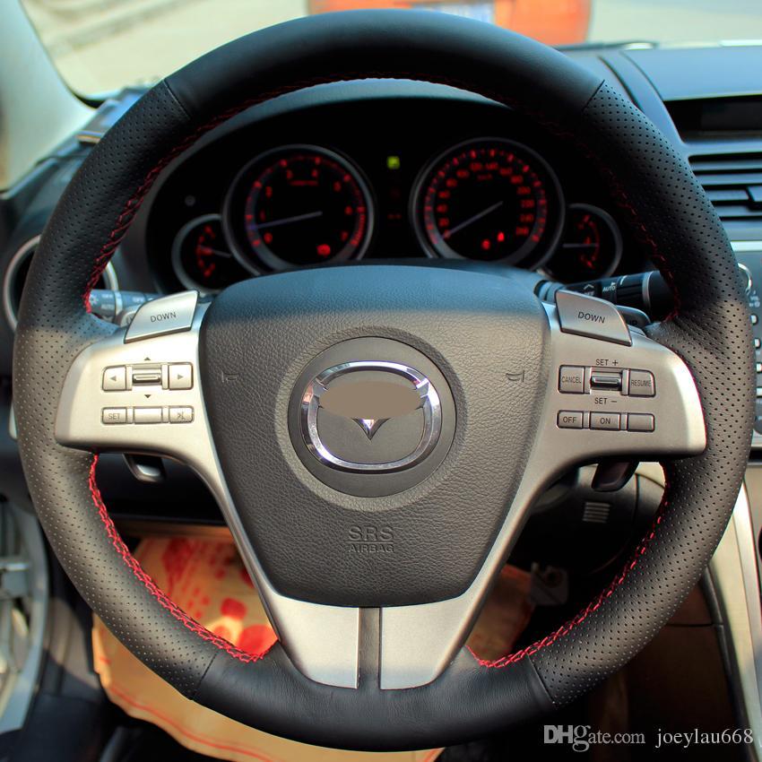 تغطية عجلة القيادة القضية لمازدا 6 التكبير التكبير تطور جلد طبيعي DIY اليد غرزة سيارة التصميم المضادة للانزلاق