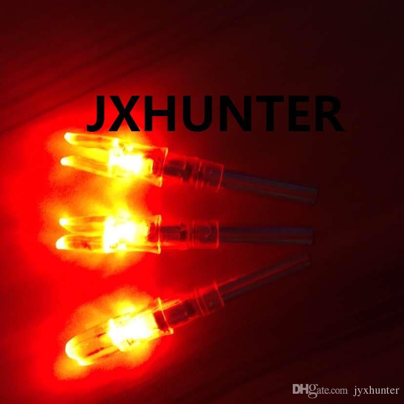 3PK Caça arco e flecha composto arco flecha de carbono caudas iluminado led light arrow nock para ID 6.2mm setas cor vermelha