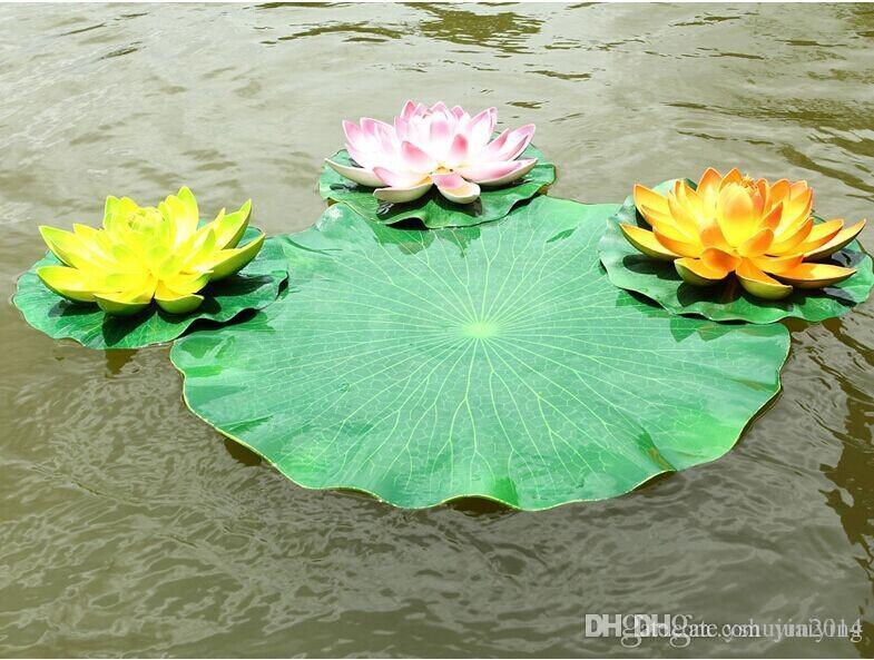 Flor Artificial Lotus Leaf EVA Material Fish Tank Water Pool Decoraciones Planta Verde Craft For Garden Home Decor Envío gratis