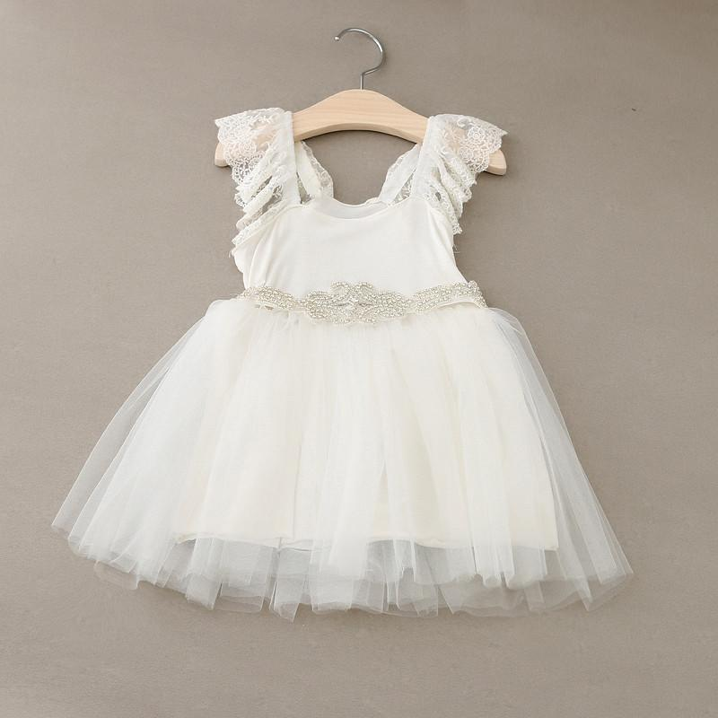 Summer Girl Princess Dress Lace Sleeveless with Crystal Belt Cotton Dress Kids Preppy College Style Dresses Children Clothes White KB022