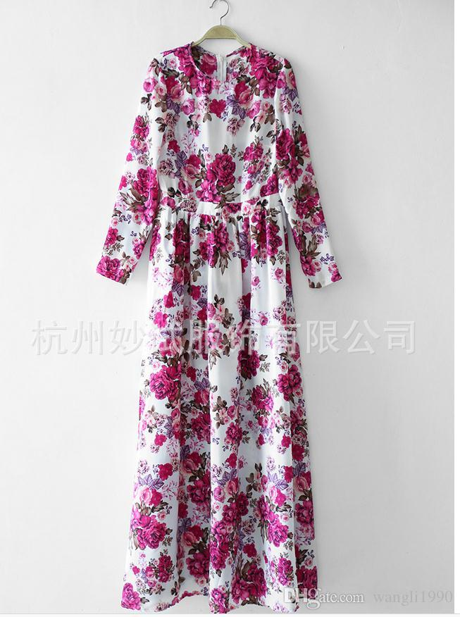 1ec58afb9 New Women Floral Maxi Dress 2015 Summer Long Sleeve O Neck Red ...