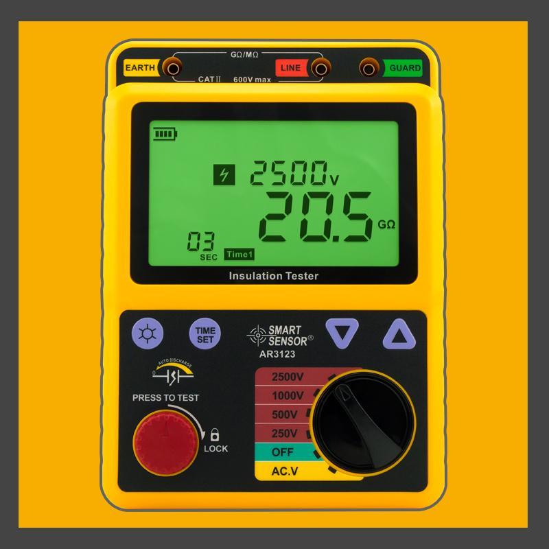 الجهد العالي 2.5KV عزل المقاومة تستر متر Megger 99.9G أوم PI AR3123