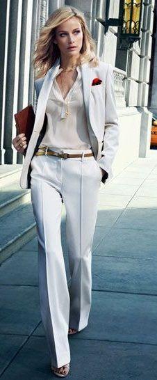 Custom Fashion White Women Tuxedos Peaked Lapel Suits For Women One ...