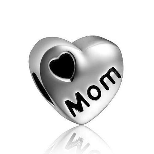 China Factory Metal Slider Black Heart Mom Mother Big Hole European Spacer Bead Fit Pandora Chamilia Biagi Charm Bracelet