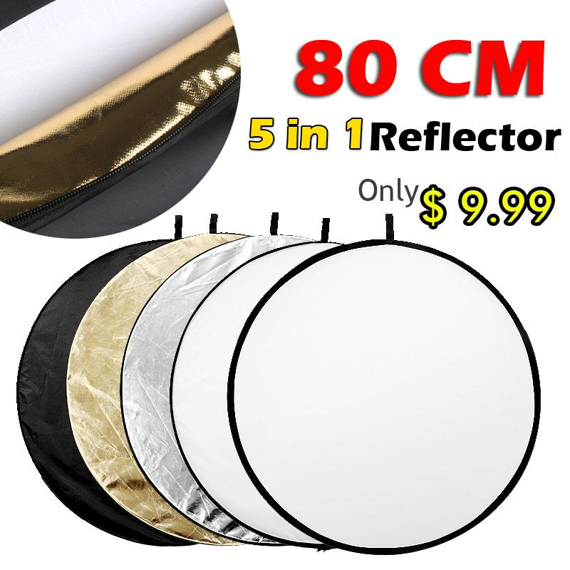 """Freeshipping 31.5"""" 80cm 5 in 1 Portable Collapsible Light Round Photography Reflector for Studio Multi Photo"""