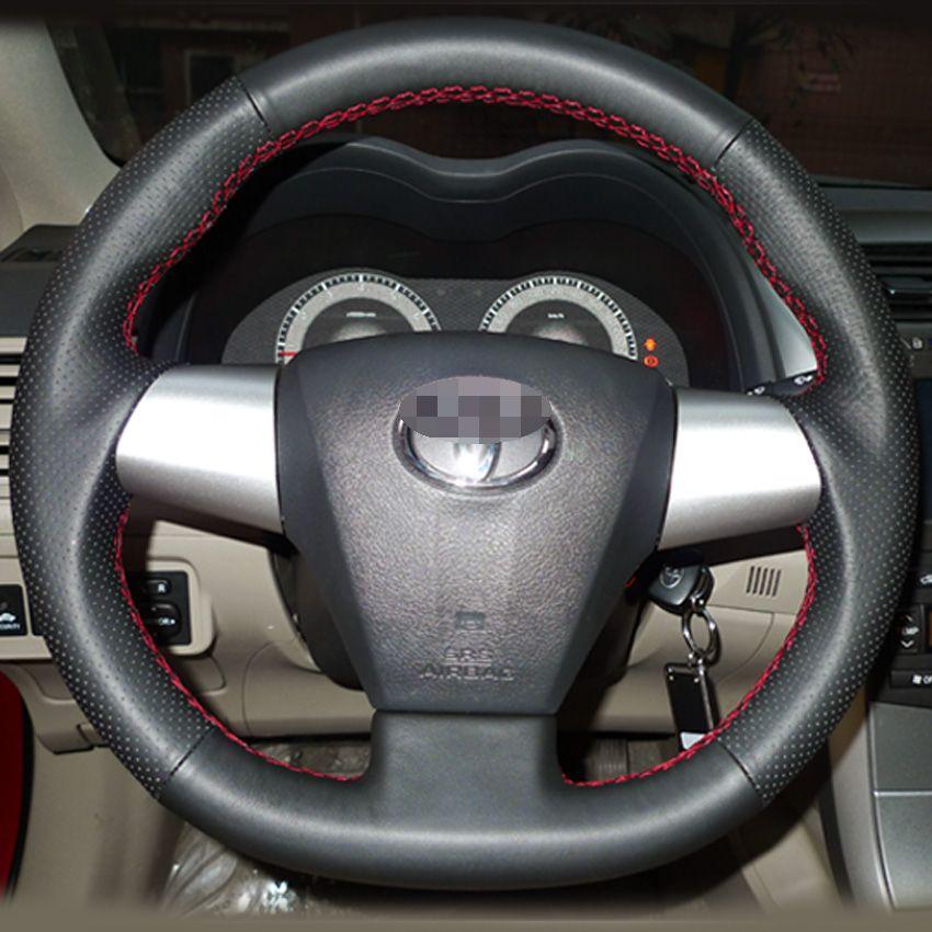 حالة تغطية عجلة القيادة لتويوتا كورولا 2011 RAV4 2012 جلد طبيعي زخرفة يدوية DIY تصميم داخلي للسيارة