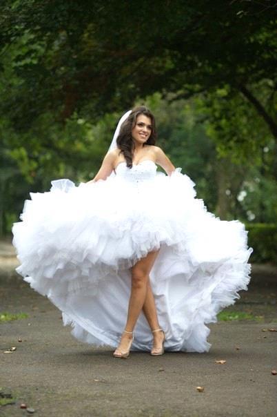 Puff Tiered Skirts Hi-lo A Line Wedding Dresses Beach Short Princess Ball Gown Sexy Backless Sweetheart Sequins Wedding Dress