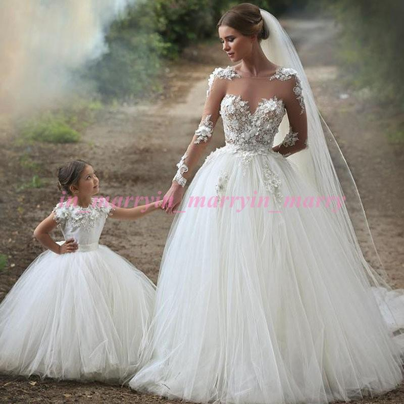 Arabic Islamic Mother And Daughter Dresses 2015 Puffy Ball Gown Crew ...